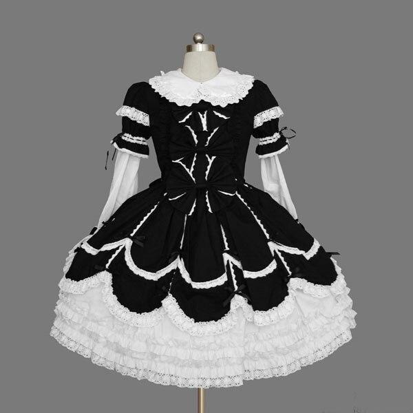 Gothique palais doux lolita robe vintage dentelle nœud papillon col claudine robe de bal robe victorienne