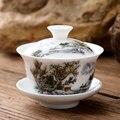 Маленькая фарфоровая чашка gaiwan 80cc  китайская керамическая чашка для чая  набор  покрытая чаша с крышкой  блюдце  китайская чашка  миски на пр...