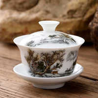 small gaiwan 80cc porcelain tureen Chinese ceramic tea bowl set covered bowl with lid cup saucer China cup bowls on sales new