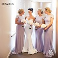 Mermaid Cap Sleeve Purple Bridesmaid Dresses With Beads Long Women Party Gowns