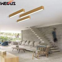 Imitation wood strip LED office ceiling lamp