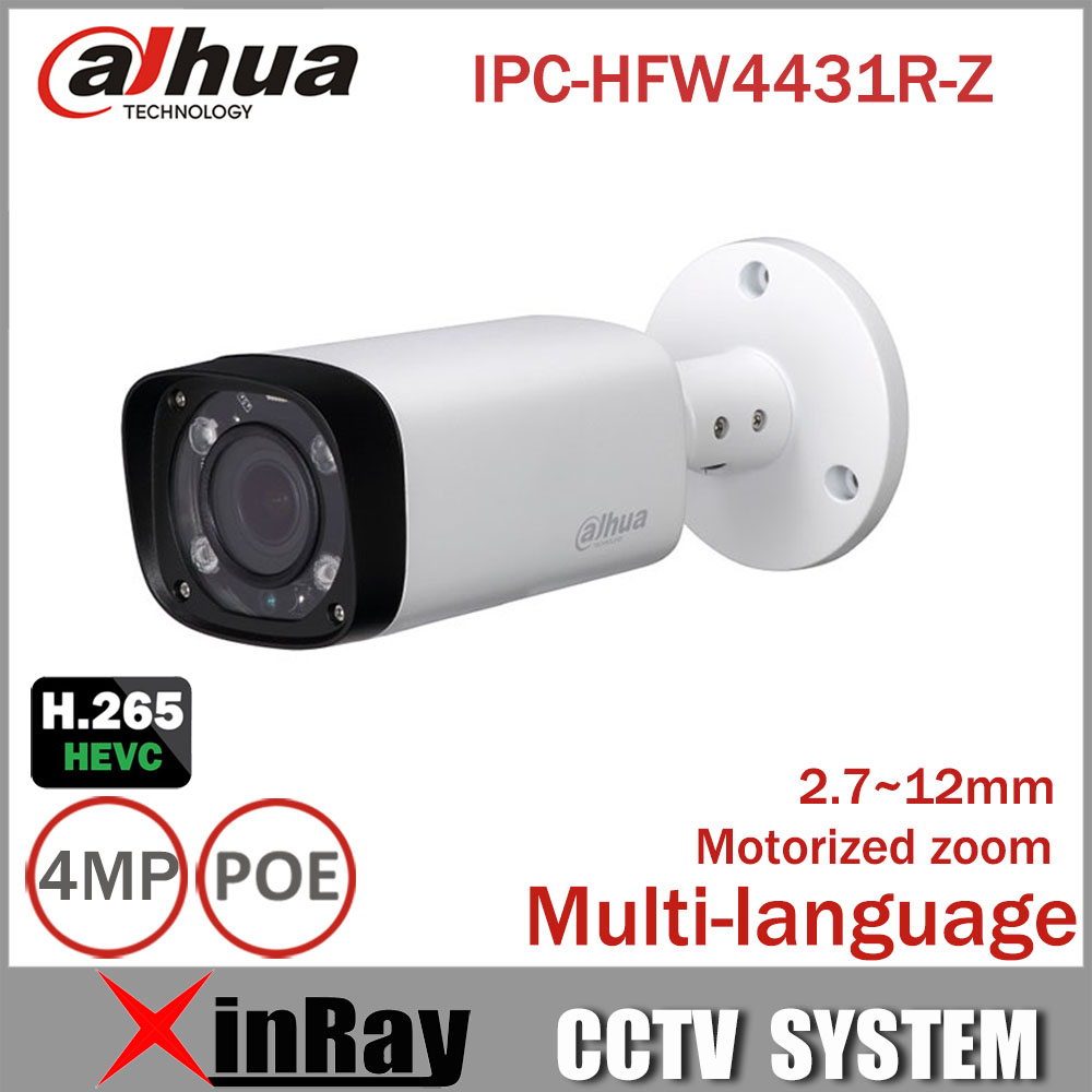 Dahua 4mp Bullet Camera IPC-HFW4431R-Z 80m IR Night Camera with 2.7~12mm VF lens Motorized Zoom Auto Focus Bullet IP Camera mitsubishi 100% mds r v1 80 mds r v1 80