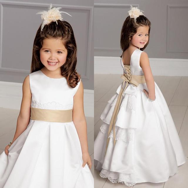 2015 Hot Lovely Flower Girls Dress White And Gold Jewel Neckline