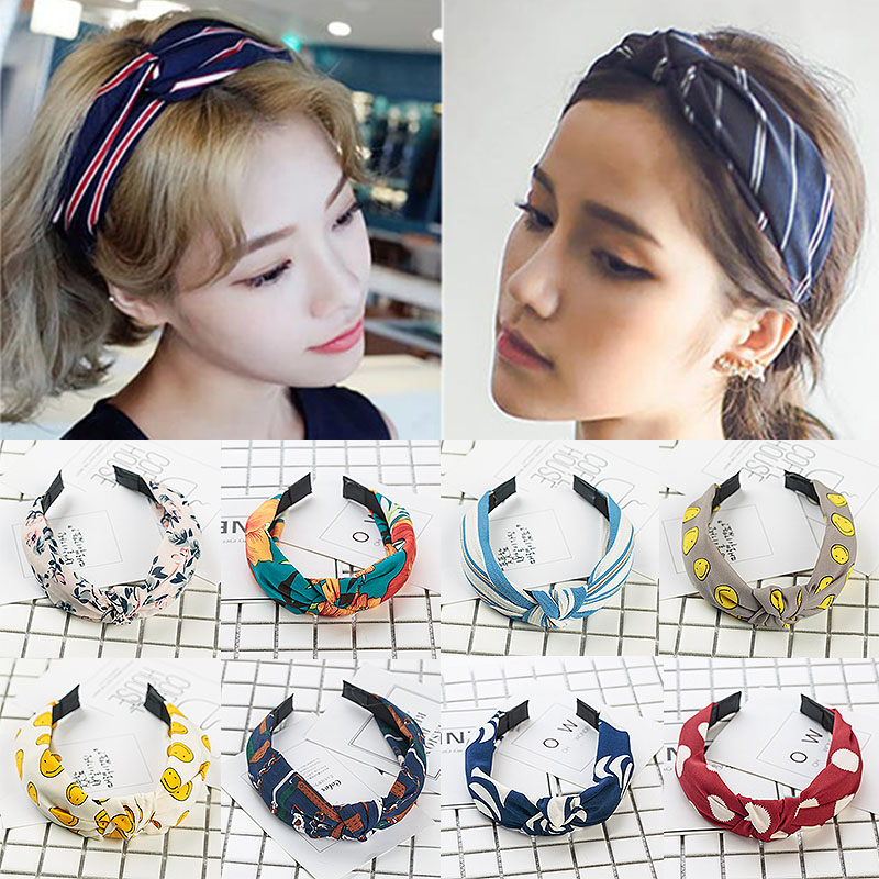 Bowknot Floral Cross Knotting Sale Sweet Head Band Dot Wide Stripe Solid Cloth Women 1 PC New Headband Hair Accessories