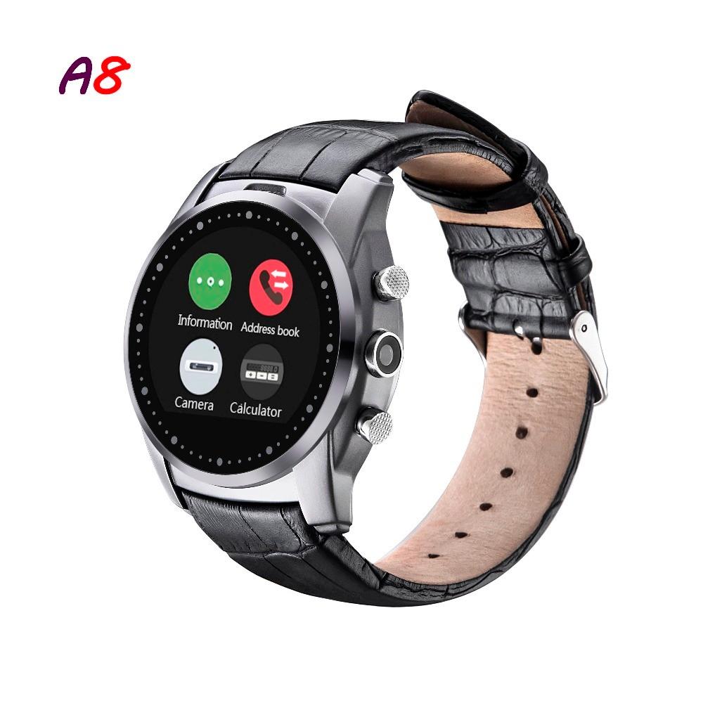 2016-Fashion-Smart-Watch-A8-Support-SIM-Card-Bluetooth-Sim-Watch-Round-Dial-Alloy-Material-Leather