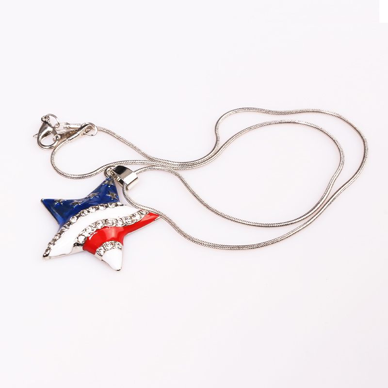 American Flag USA Charm Necklace Pendants With Crystal Heart And Star Hanging Necklaces Choker For Patriotic Women Girls Jewelry