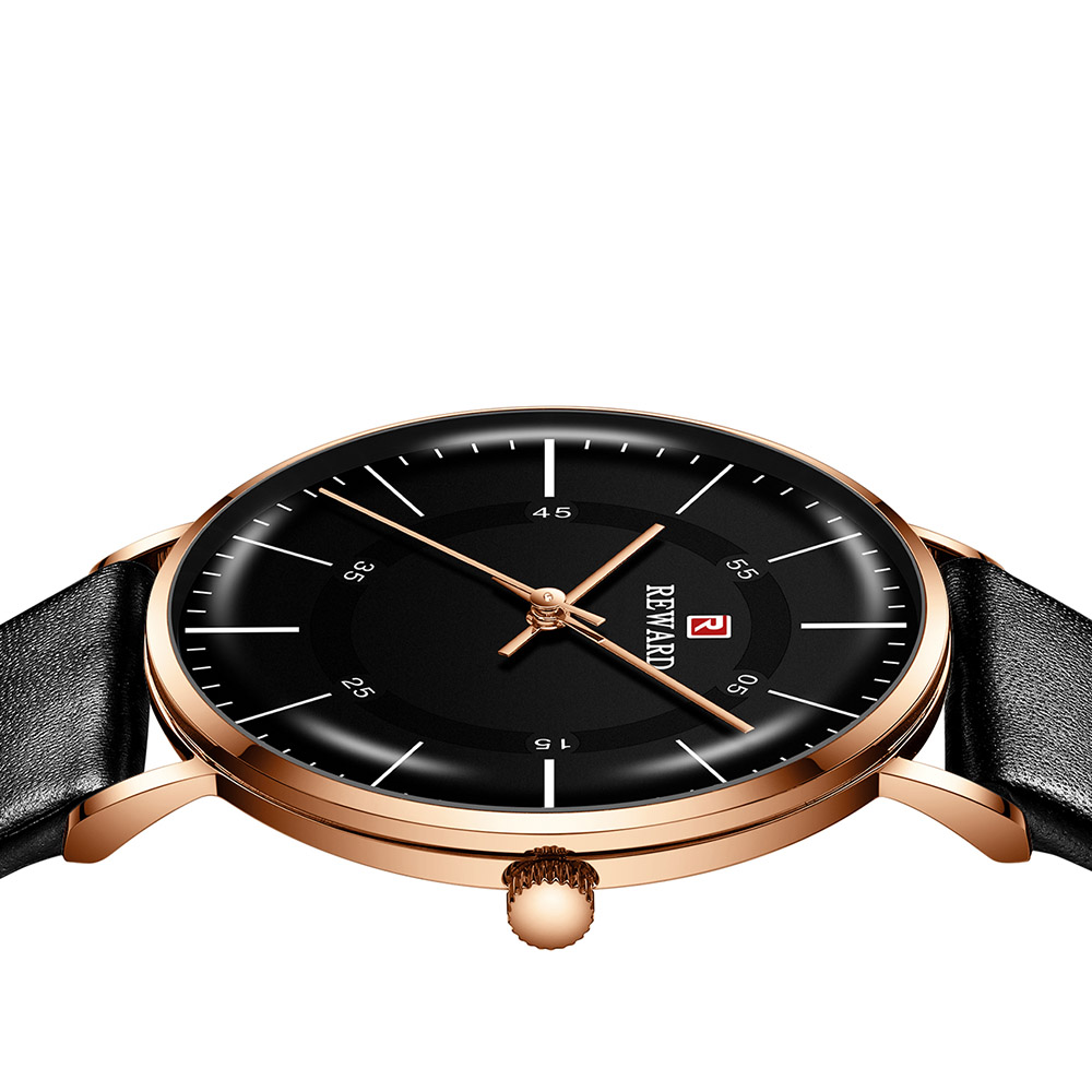 Luxury Watch Mens Black Leather Analog Wrist Watch Creative Curved Glass Dress Watch for Man Waterproof Business Clock Rose Gold