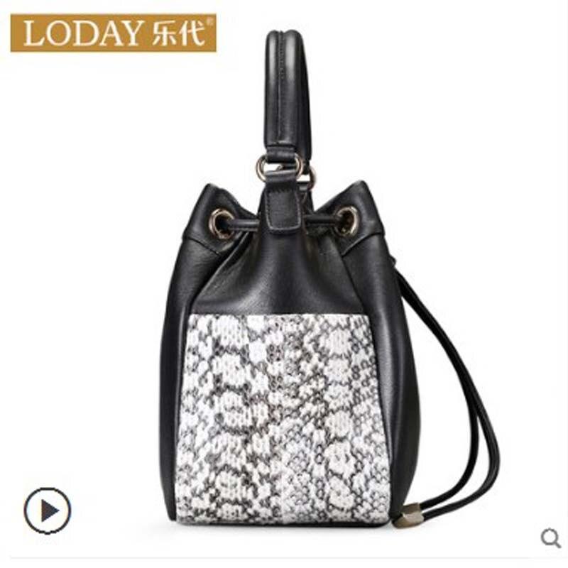 ledai Cow skin bag snake skin bag female 2019 new style fashion Korean version all matching leather bag female bucket bag