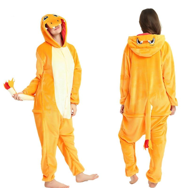 Dropship Adult High Quality Charmander Pokemon Dinosaur Kigurumi Onesies Sleepwear Animal Anime Cartoon Pajamas Cosplay Costumes