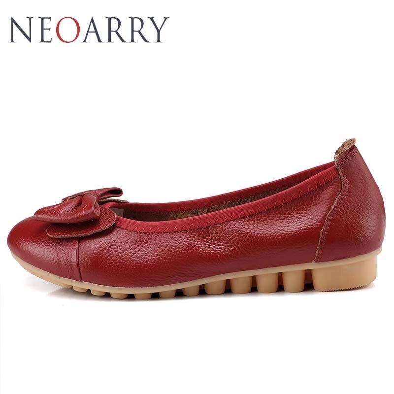 Confortable Mocassins Femme Main Femmes En Casual Beige rouge Cuir Mode 2018 Nouvelle jaune Véritable Plat Chaussures Lt840 Neoarry noir RASwq7q