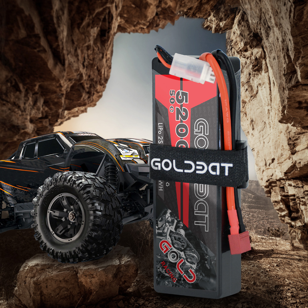 Image 2 - 2units GOLDBAT 5200mAh Lipo Battery 7.4V 50C 2S LiPo RC Battery with Deans Plug for RC Evader BX Car Truck Truggy Buggy Helicopt-in Parts & Accessories from Toys & Hobbies