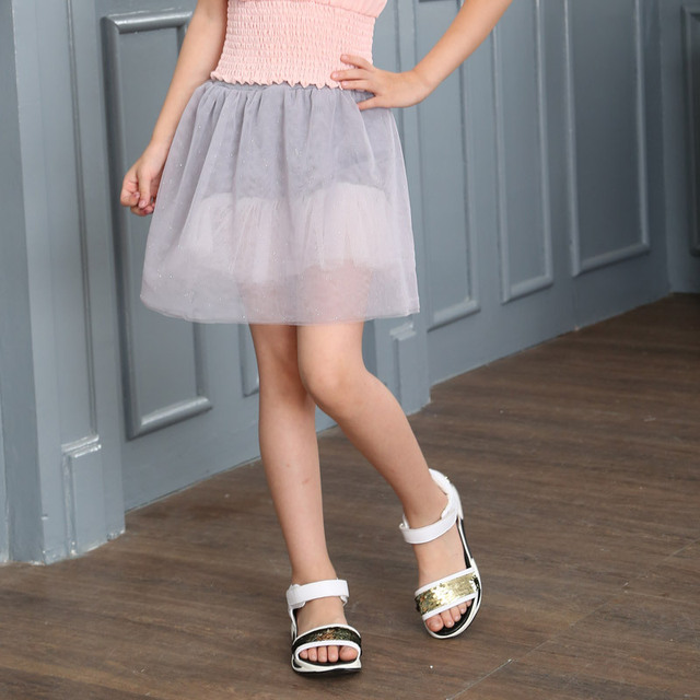 Bust Korean Girls Pure Summer Beautiful Princess Mesh Hot Kids Skirts Pink Grey Black