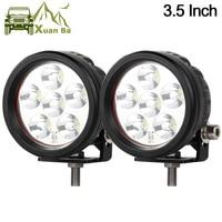 Barato XuanBa 2 uds. 3,5 pulgadas 18W Mini luz Led redonda de trabajo para 4x4 todoterreno camión motocicleta Tractor 12V 24V ATV luces de conducción lámpara antiniebla