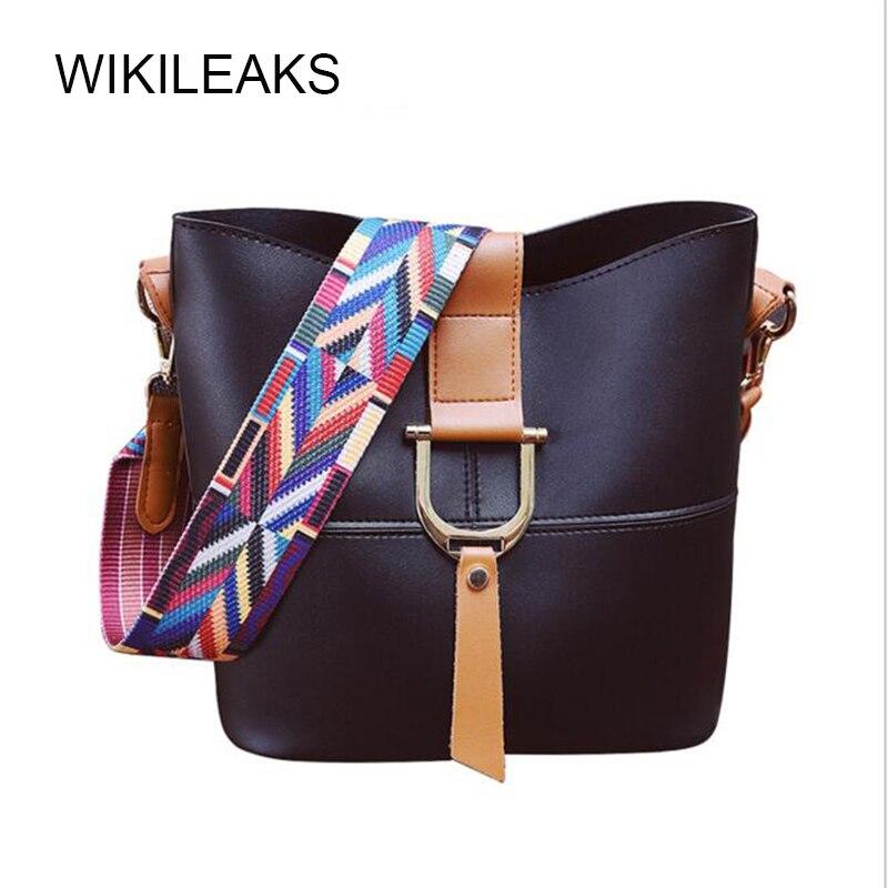 Wikileaks 14 Colores  Mujer Bolsa PU Bolso de Cuero Cubo Bolsa Compuesta Popular