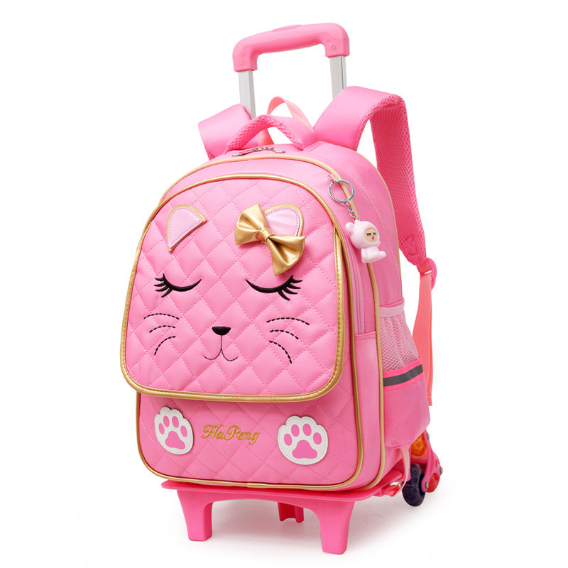 Latest Removable Children School Bags 2/6 Wheels for Girls Trolley Backpack Kids Wheeled Bag Bookbag travel luggage Mochila-in School Bags from Luggage & Bags    3