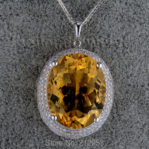 Big Oval 19x24mm 21.15Ct Solid 14Kt White Gold Party Citrine Pendant SR0025Big Oval 19x24mm 21.15Ct Solid 14Kt White Gold Party Citrine Pendant SR0025