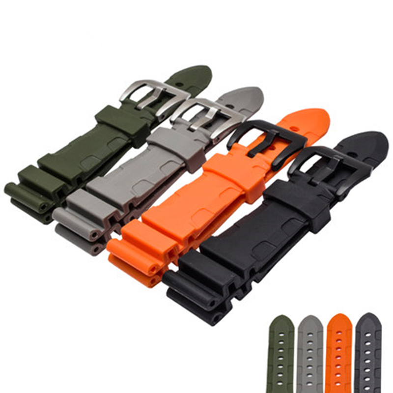 TJP 24mm 26mm Black Gray Green Orange Mens Black Waterproof Silicone Rubber Watchbands Replace Panerai PAM111 Wristband Strap lukeni 24mm camo gray green blue yellow silicone rubber strap for panerai pam pam111 watchband bracelet can with or without logo