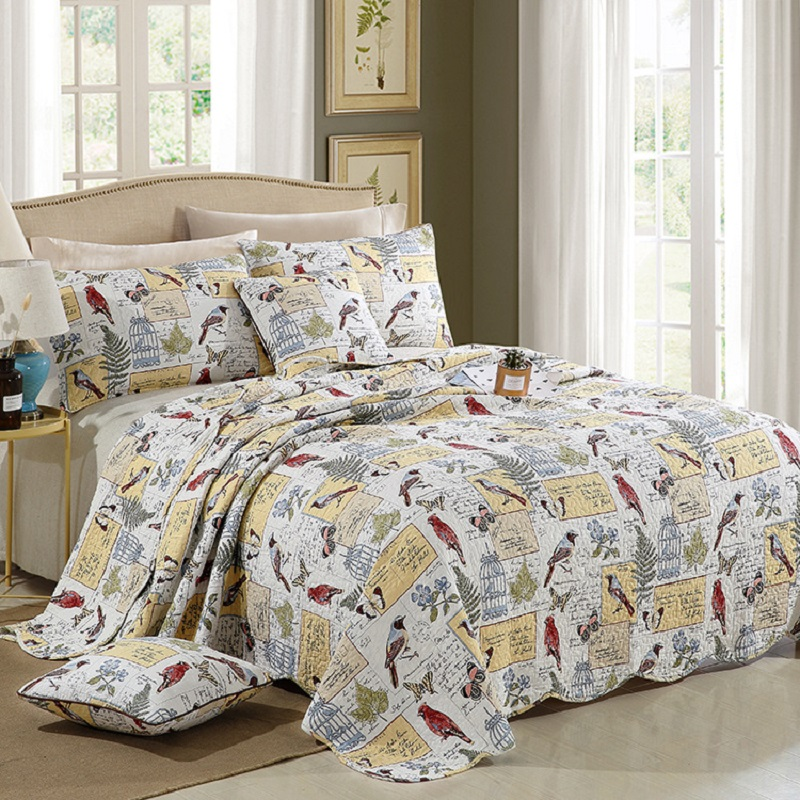 Quality Printed Quilt Set 3PC Quilted bedding Wash cotton Quilts Bed Covers Aircondition Bedspread Pillowcase King Size CoverletQuality Printed Quilt Set 3PC Quilted bedding Wash cotton Quilts Bed Covers Aircondition Bedspread Pillowcase King Size Coverlet