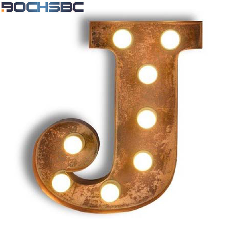 BOCHSBC Logo Metal Letter J Lights Simple Art Deco Wall Lamps Iron Wall Lamps Wall Sconce for Vintage Living Room Cafe Bar Lampe