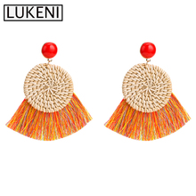 11 Colors Fringe Wooden Rattan Statement Tassel Earrings For Women 2019 Handmade Geometric Drop Straw Weave Knit Vine Jewelry