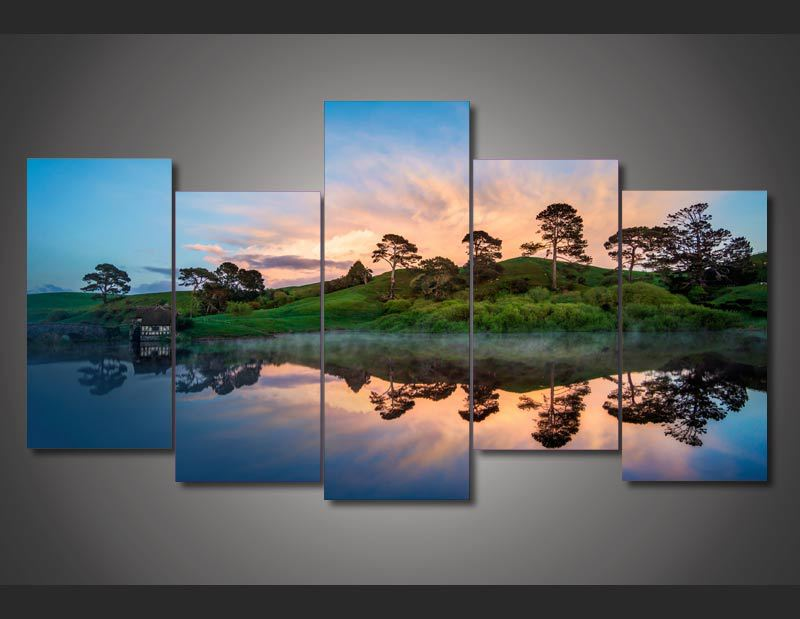 HD Printed Sunset Over Lake Painting On Canvas Room