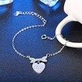 Authentic 100% Real 925 Sterling Silver Bracelet & Bangle com Osso e Vinculador Do Amor Do Coração, Bijoux Jóias Presente Para As Mulheres TF 793