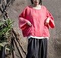 2017 Новая Коллекция Весна Женщины Плюс Размер Розовый Оригинальный Дизайн Хлопок белье Пуловер Блузка Свободной Женщины Повседневная Мягкая Мори Девушка Женщина топы