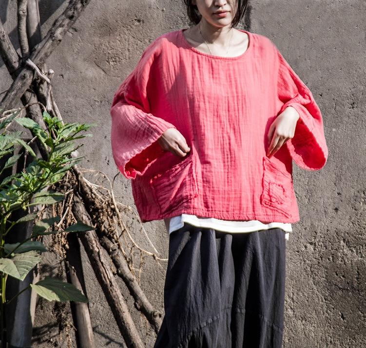 2017 New Spring Women Plus Size Pink Original Design Cotton Linen Pullover Blouse Loose Female Casual Soft Mori Girl Female Tops