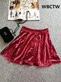 Velvet Skater Mini Falda Corta de Cintura Alta 40-45 cm Negro Rojo Oscuro Plisado kadife etek