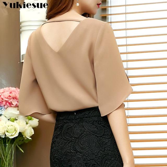 fashion woman blouses 2019 summer women's shirt blouse for women blusas womens tops and blouses chiffon shirts ladie's plus size 4