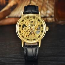 MCE Мужчины смотреть luxury brand 2016 Мода Механические Часы Мужчины Золото Скелет Часы мужчины Механические Часы Черный Кожаный Наручные Часы