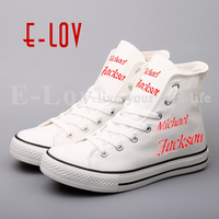 E LOV Customized Print Michael Jackson Canvas Shoes Rock Style Hip Hop Women Girls Flat Casual