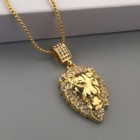18K Iced Out Gold Plated Full Rhinestone Lion Pendant Necklace Box Link Chain Forest King Hip