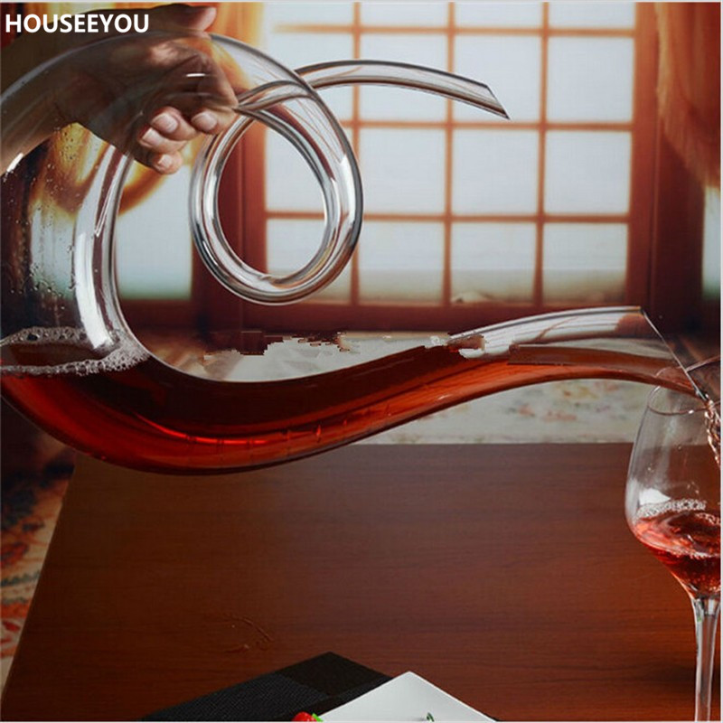 1500ml Lead free Crystal Glass Decanter Handmade Healthy Wine Bottle Transparent Kitchen Bar Sets Mouth Blown Barware Supplies-in Decanters from Home & Garden    3