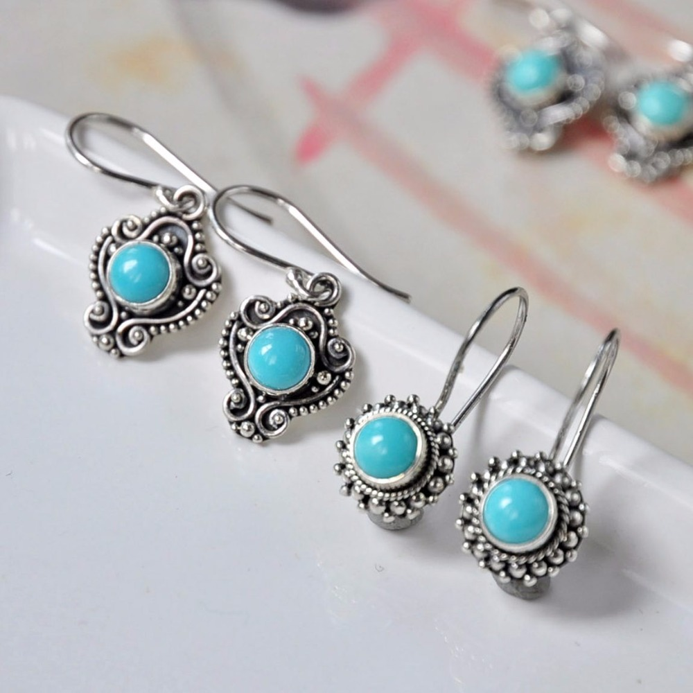 pair of stylish faux turquoise leaf alloy drop earrings for women 2018 Ethnic Real 925 Sterling Silver Drop Earrings For Women Girl Original Handmade Natural Turquoise Lace Earrings Fine Jewelry