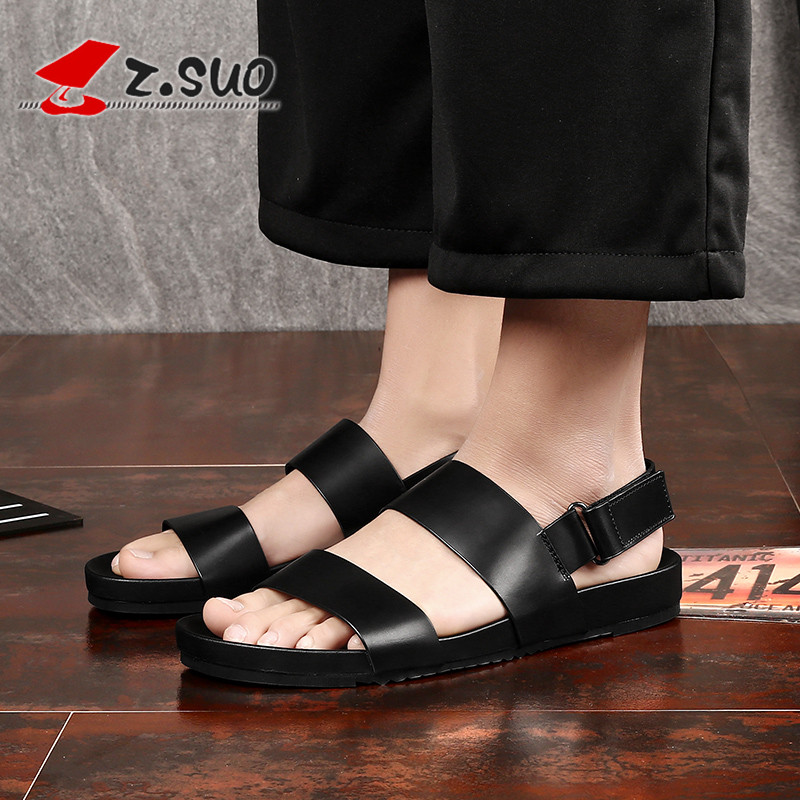 Z.Suo Black Summer Men Beach Sandals Genuine Leather Shoes Men Leisure Non slip Hook Loop Fashion man Sandals Size 45 46 S19602