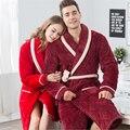 Пара халаты Плюс бархатные утолщение Фланель ночной рубашке Халаты женщины/мужчины Моды случайные стиль пижамы