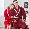 Couple bathrobes Plus velvet thickening Flannel nightgown Robes women/men Fashion casual style pajamas