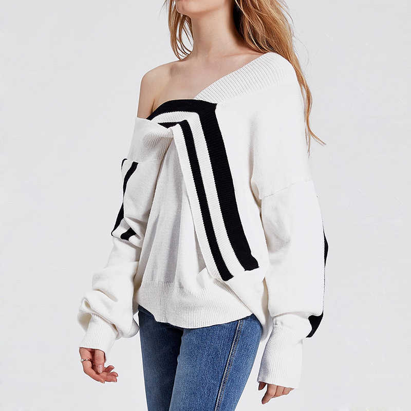 Haoduoyi 2018 The new Black White Splice  irregular Women Sweaters Deep V-neck Knitted Female Sweaters Loose Casual Pullovers