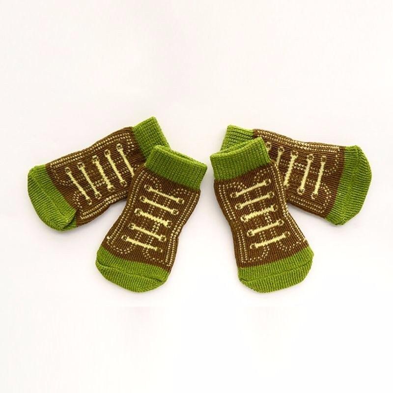 7856176f3 Antideslizante algodón knit Calcetines SKID bottom 4 unids PET pequeño  perro cachorro caliente Calcetines nuevo