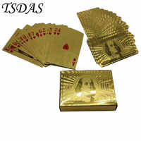 Durable Waterproof 100 Dollar 24k Gold Plated Poker Cards 54 PCS/deck Special Gold Playing Cards for Christmas Souvenirs Gifts