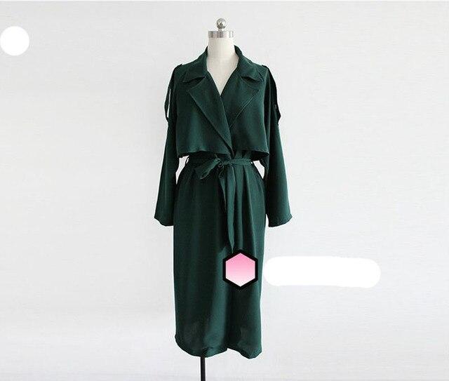 966667a12505 2018 printemps especial femmes Détective Cape Tranchée manteaux De Mode  Dame Long survêtement Drapé avec Sash