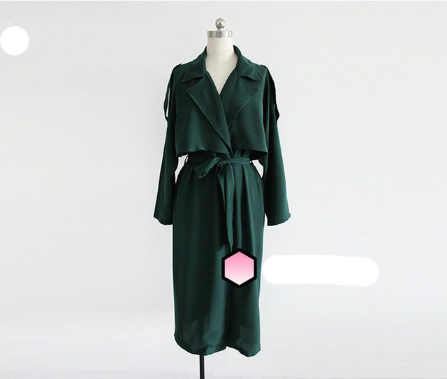 08d92adee9483 2018 spring especial women Detective Cape Trench coats Fashion Lady Long  outerwear Draped with Sash Turn Down Collar Black Green