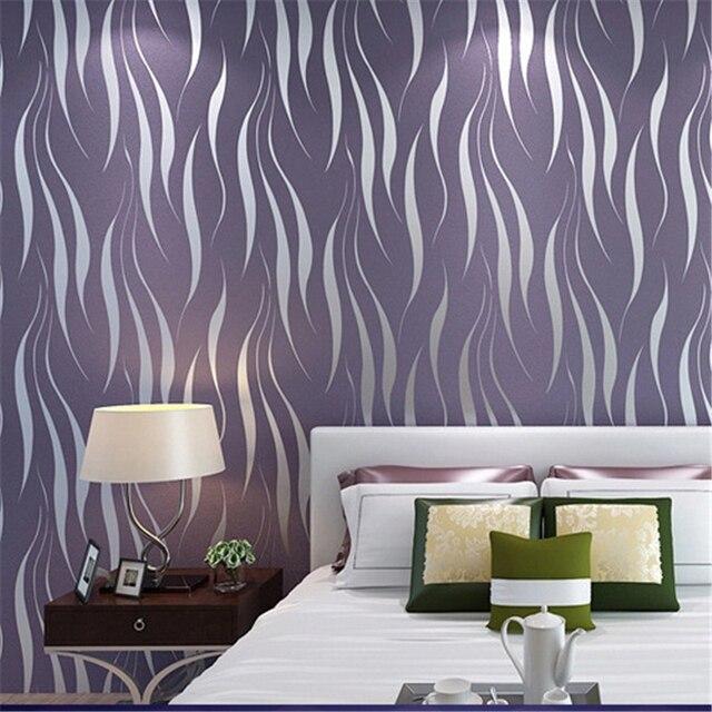 beibehang moderne eenvoudige water gras blad vliesbehang stralen zilver grijs paars curve slaapkamer woonkamer behang