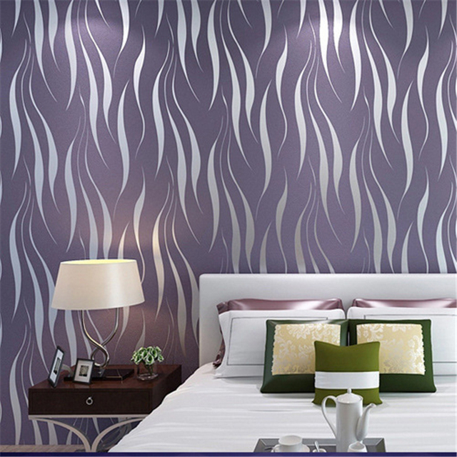 Beibehang Modern Simple Water Grass Leaf Non   Woven Wallpaper Blasting  Silver Gray Purple Curve Bedroom Part 53