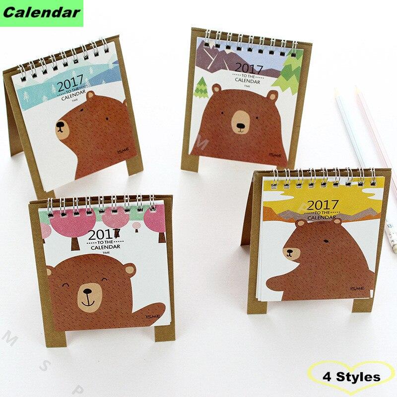 2017 table calendar kawaii calendario da tavolo diy calendrier de escritorio bear kalender - Agenda da tavolo 2017 ...