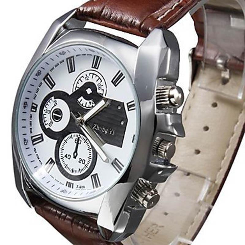 Men Watch 2017 Business Quartz-watch Military Men sport Watches  Luxury Brand Hot Boy Leather Strap Quartz Watch Erkek Kol Saati