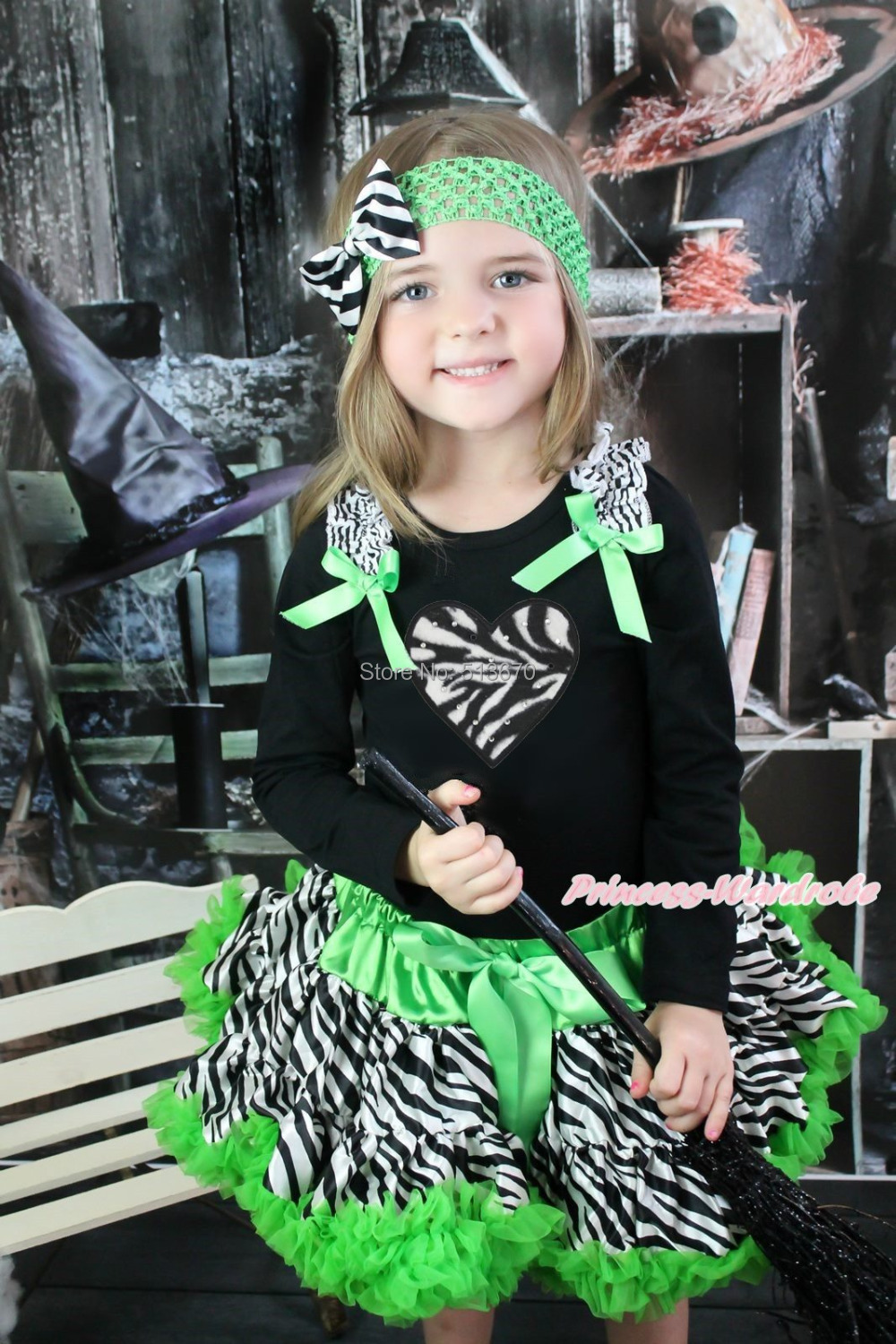 Halloween Zebra Heart Black Top Green Zebra Baby Girl Pettiskirt Outfit 1-8Year MAMG1224 xmas rhinestone santa baby top green white dot red skirt baby girl outfit 1 8y mapsa0048