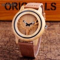 Creative Men S Quartz Sports Watch Cowhide Leather Brand Deer Head Engraved Wooden Bamboo Watch Mens