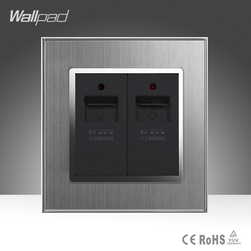 CE Wallpad AC 110-250V Dual USB Socket Port Silver Satin Metal UK US EU Double USB Charger Wall Socket Plug with LED IndicatorCE Wallpad AC 110-250V Dual USB Socket Port Silver Satin Metal UK US EU Double USB Charger Wall Socket Plug with LED Indicator